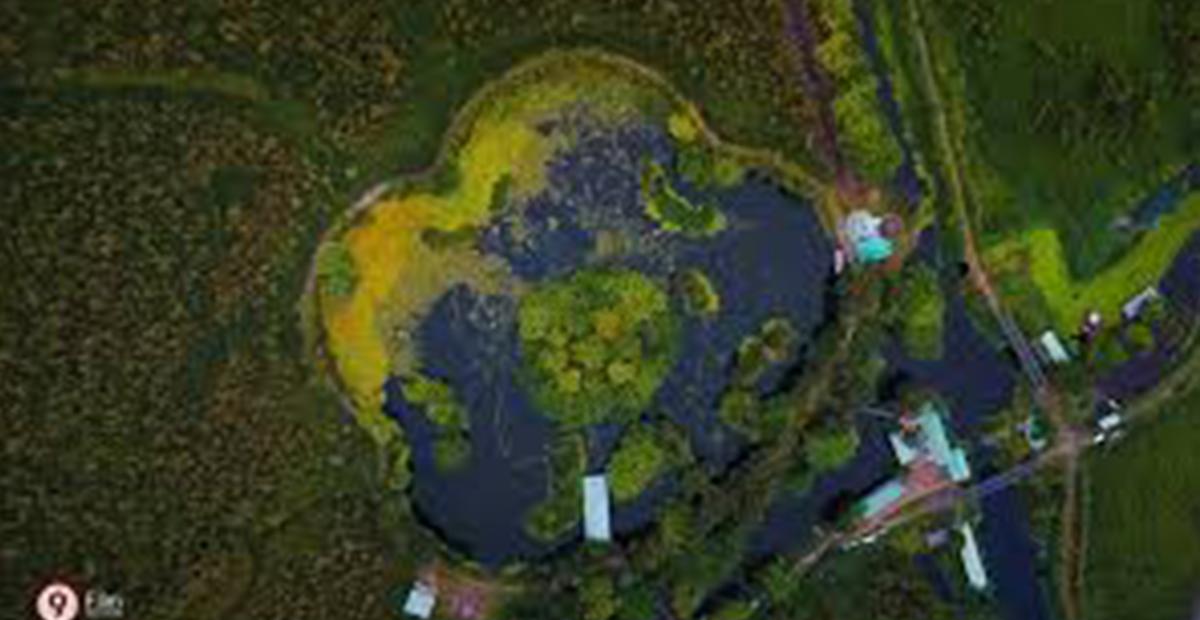 Đúng như tên gọi, hồ Hoa Mai có hình dáng như hoa mai 5 cánh